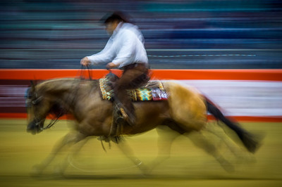 France, Lyon :  western illustration slow speed during Equita Lyon, on November 4 , 2017, in Lyon, France - Photo Christophe Bricot
