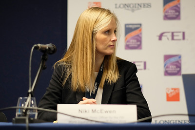 Paris, France : Press conference of FEI Equestrian Games of Tryon, USA. Nikki McEwen (press officer) - World Equestrian Games) during the FEI World Cup Finals at the Accor Hotel Arena - Avril 11-15, on April 14, 2018, in Paris, France - Photo Christophe Bricot