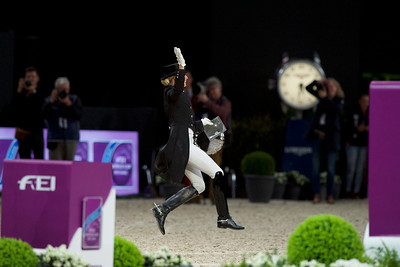 Paris, France : Jessica VON BREDOW-WERNDL (GER) riding UNEE BB during the FEI World Cup Finals at the Accor Hotel Arena - Avril 11-15, on April 14, 2018, in Paris, France - Photo Christophe Bricot