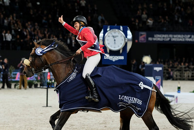 Paris, France : Winner Elizabeth (Beezie) MADDEN (USA) riding BREITLING LS during the FEI World Cup Finals at the Accor Hotel Arena - Avril 11-15, on April 15, 2018, in Paris, France - Photo Christophe Bricot