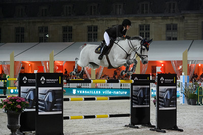 France, Versailles : Jessica SPRINGSTEEN riding CYNAR VA during the Versailles Castle Show Jumping at the stables of the kings, on May 6th , 2017, in Versailles, France - Photo Christophe Bricot