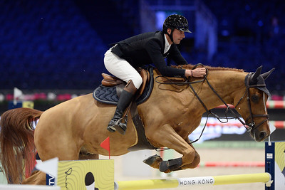 France, Villepinte : Nicolas DELMOTTE (FRA) riding URVOSO DU ROCH during the Longines Masters of Paris 2017, on November 30 , 2017, in Villepinte, France - Photo Christophe Bricot