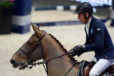 France, Villepinte : Julien EPAILLARD (FRA) riding TOUPIE DE LA ROQUE during the Longines Masters of Paris 2017, on November 30 , 2017, in Villepinte, France - Photo Christophe Bricot