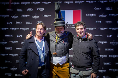 France, Villepinte : Pedro Cebulka (middle) and Emanuele GAUDIANO (r) during the Grand Prix of the Longines Masters Paris, on December 4th , 2016, in Villepinte, France - Photo Christophe Bricot