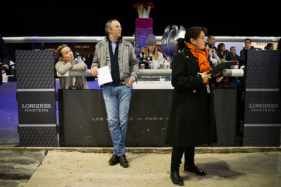 France, Villepinte : Mme Emmanuele Perron-Pette and Patrice Delaveau during the Longines Masters Paris, on  December 2th , 2016, in Villepinte, France - Photo Christophe Bricot