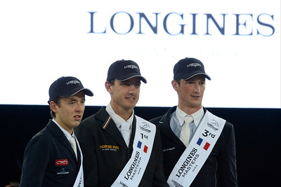 France, Villepinte : Bertram Allen (2nd), Gregory Wathelet win with Eldorado van het Vijverhof and Daniel Deusser (3rd)  during the Grand Prix of the Longines Masters Paris, on December 4th , 2016, in Villepinte, France - Photo Christophe Bricot