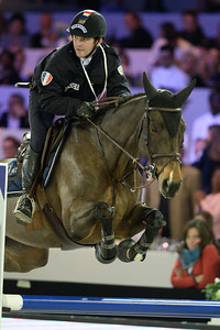 France, Villepinte : Marc Dilasser riding Ramona Robinz  during the Pro-Am for Charity Presented by Hyatt, at the Longines Masters Paris, on December 4rd , 2016, in Villepinte, France - Photo Christophe Bricot
