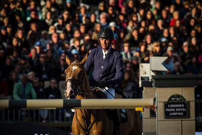 France, Paris : Cedric Angot riding Saxo de la Cour during the Longines Paris Eiffel Jumping, Global Champions Tour in July 2th , 2016, in Paris, France - Photo Christophe Bricot