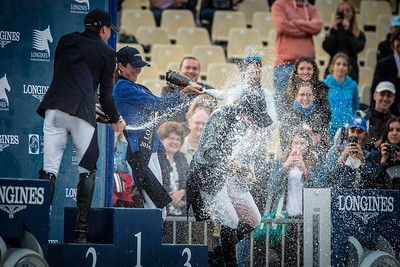 France, Paris : Champagne for Rolf Goran Bengtsson with Pénélope Leprevost and Simon Delestre during the Longines Paris Eiffel Jumping, Global Champions Tour in July 2th , 2016, in Paris, France - Photo Christophe Bricot