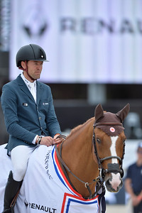 France, Paris : Simon Delestre riding Chesall Zimequest during the Longines Paris Eiffel Jumping, Global Champions Tour in July 2th , 2016, in Paris, France - Photo Christophe Bricot