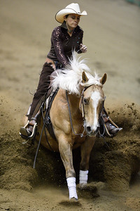 France, Chassieu : Tina Künstner-Manti riding Nu Chexomatic during the reining International Competition of Equita Lyon, on October 29th , 2016, in Chassieu, France - Photo Christophe Bricot