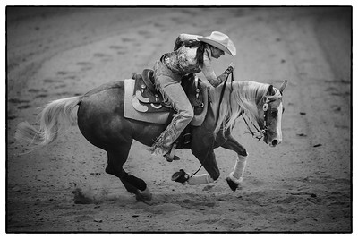France, Chassieu :  Cira Baeck riding Wimples Cute Tune during the reining International Competition of Equita Lyon, on October 29th , 2016, in Chassieu, France - Photo Christophe Bricot