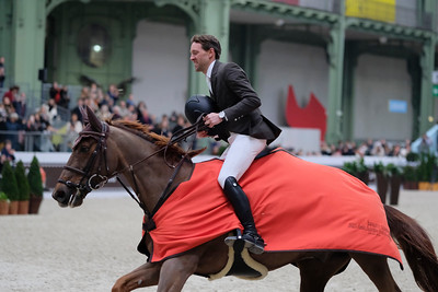 Paris, France : Simon DELESTRE (FRA) riding HERMES RYAN during the Saut-Hermès in the Grand Palais, on March 18, 2018, in Paris, France - Photo Christophe Bricot