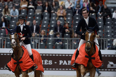 France, Paris : Emilie CONTER riding Espyrante and Nathan BUDD riding Balder van de Katelijnkouter during the Saut-Hermès Jumping competition in the Grand-Palais, on March 19th , 2017, in Paris, France - Photo Christophe Bricot