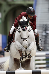 France, Paris : Bassem MOHAMMED riding Argelith Squid during the Saut-Hermès Jumping competition in the Grand-Palais, on March 19th , 2017, in Paris, France - Photo Christophe Bricot