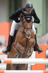 France, Paris : Kevin STAUT riding Ayade de Septon HDC during the Saut-Hermès Jumping competition in the Grand-Palais, on March 18th , 2017, in Paris, France - Photo Christophe Bricot