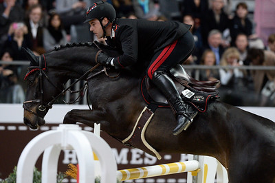 France, Paris : Emanuele GAUDIANO riding Carlotta 232 during the Saut-Hermès Jumping competition in the Grand-Palais, on March 18th , 2017, in Paris, France - Photo Christophe Bricot
