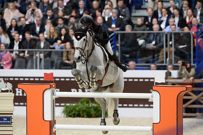France, Paris : Jérôme GUERY riding Papillon Z during the Saut-Hermès Jumping competition in the Grand-Palais, on March 18th , 2017, in Paris, France - Photo Christophe Bricot