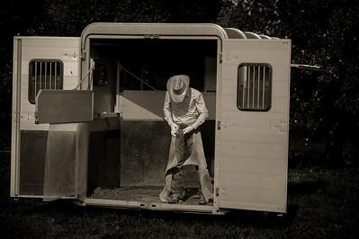 FRANCE, Bellengreville (76), reportage western : équitation REINING, avec le cavalier membre de l'équipe de France, Bastien Bourgeois, Centre équestre du Cheval Bleu -  76630 Bellengreville - Mardi 24 septembre 2013 - Photo Christophe Bricot