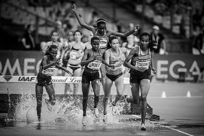France, Paris : Kiyeno, Jebet (New world record), Praught  and Thuigong (3000m Steeplechase women),  during the IAAF Diamond League - Meeting of Paris   in August 27th , 2016, in Paris, France - Photo Christophe Bricot.