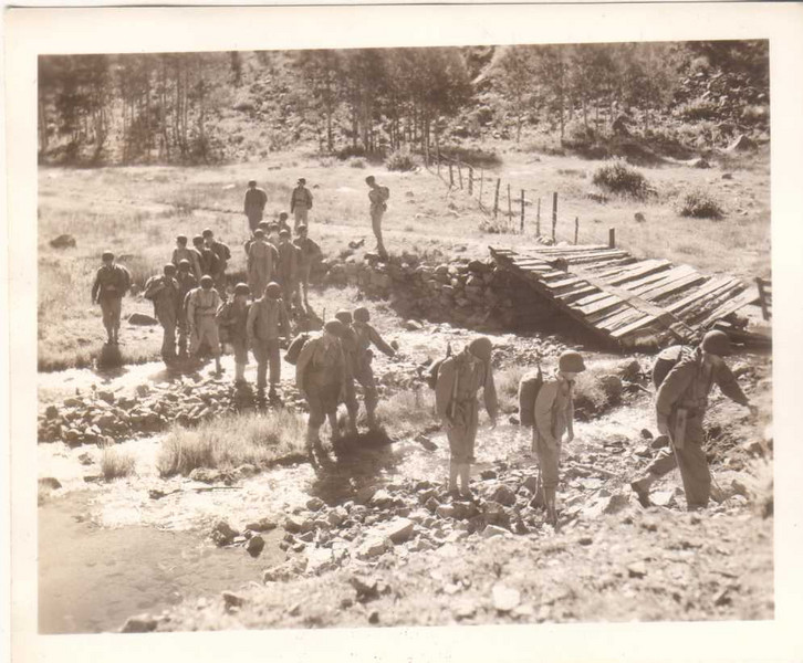 World War Two 4 x 5 Inch 36th TEXAS Div GIs Cross ITALY Stream In Attack