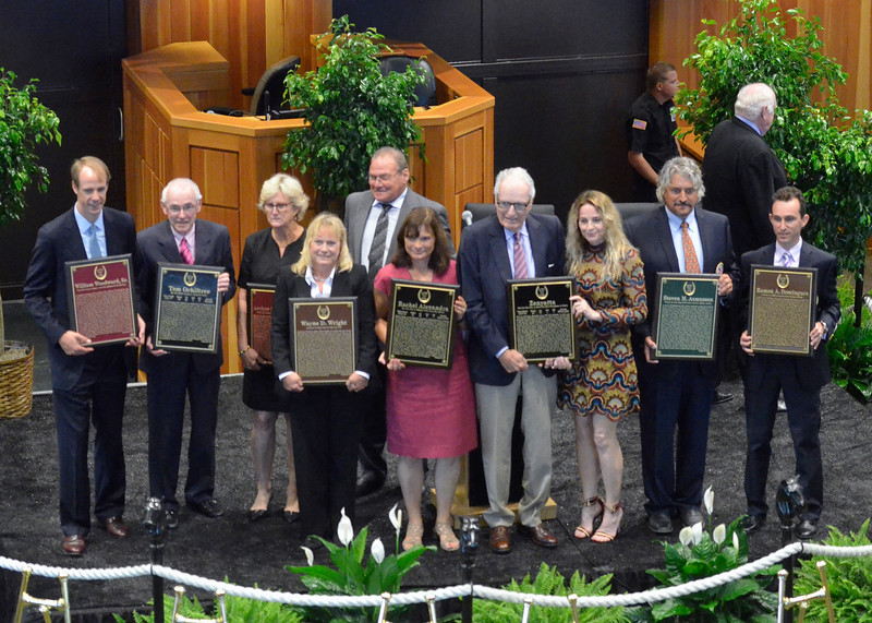 "David M. Johnson - djohnson@digitalfirstmedia.com<br /> The National Museum of Racing and Hall of Fame Class of 2016 poses with Hall of Fame plaques. From left, Townsend Bancroft accepts for great-grandfather William Woodward Sr., Michael Veitch accepts for horse Tom Ochiltree, Dell Hancock accepts for father Arthur B. ""Bull"" Hancock Jr., daughter accepts for Wayne D. Wright, Barbara Banke accepts for horse Rachel Alexandra, Mr. and Mrs. Jerome S. Moss accepts for horse Zenyatta, trainer Steve Asmussen and jockey Ramon Dominguez."