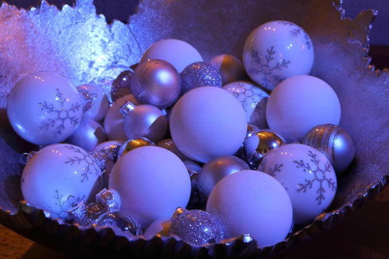 Christmas Ornaments Bathed in Purple Light