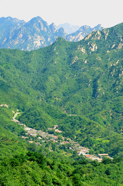 Mountains and village of Inner Mongolia as seen from the Mutianyu section of the Great Wall of China