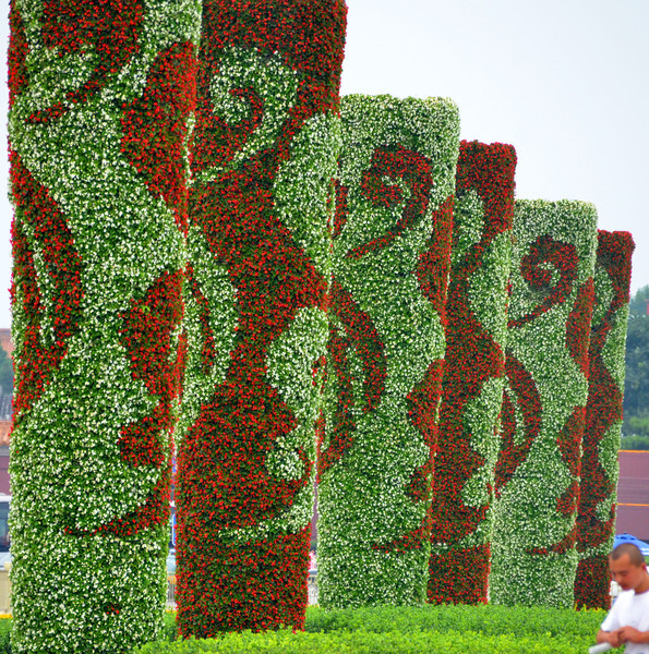 Decorative flower pillars on the north side of Beijing's Tiananmen Square
