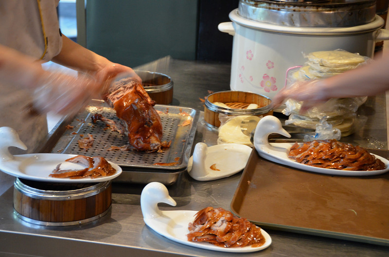 Peking Duck being prepared in a Dayali Restaurant, Beijing, China.