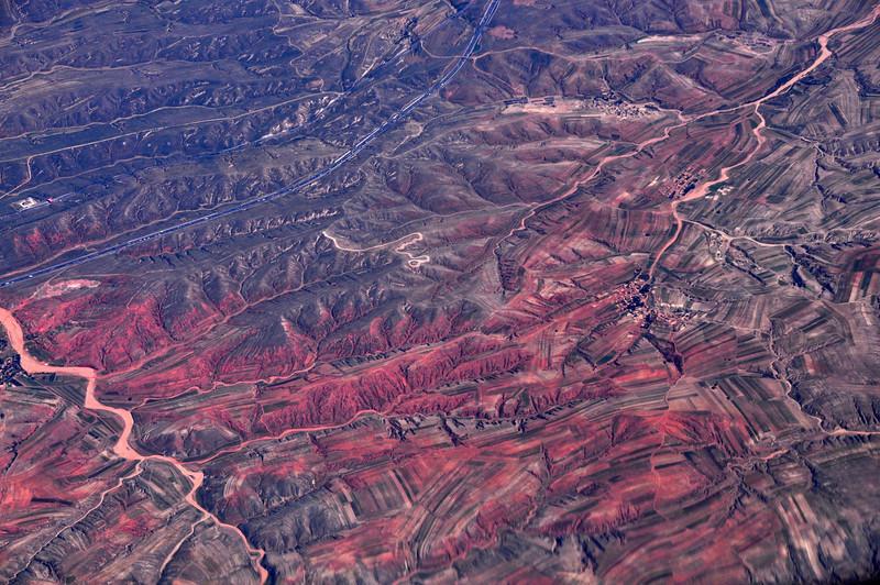 Flight from Newark to Beijing: Desert to the North of Beijing