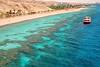 Beach and coral reef along the Gulf of Eilat, as seen from the Underwater Observatory Marine Park in the resort town Eilat, Israel.