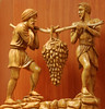 Olive wood carving: Israelite spies bring back fruit from the Promised Land