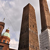 Bologna's famous Two Towers: the Asinelli Tower (97 m, and under repairs) and the Garisenda Tower (48 m).