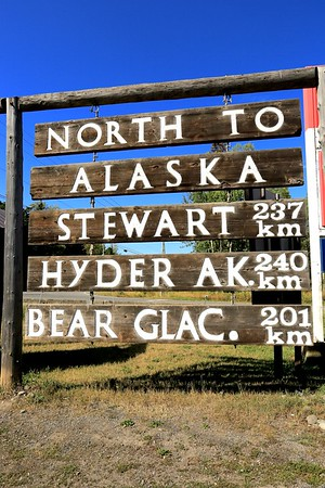 This is the start to a great adventure. We turned Right and headed to Salmon Glacier.  Spent the night in Hyder Alaska and visited sites along the way.  1st stop was Kitwanga at the cross roads of 37 and 16.  We stopped and looked at the totem poles and St Pauls Church.