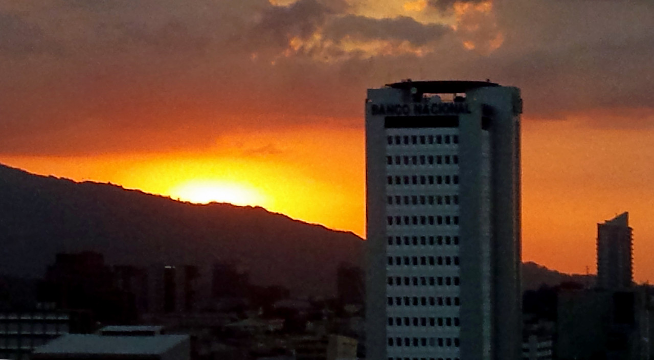 Sunset from top floor of Holiday Inn