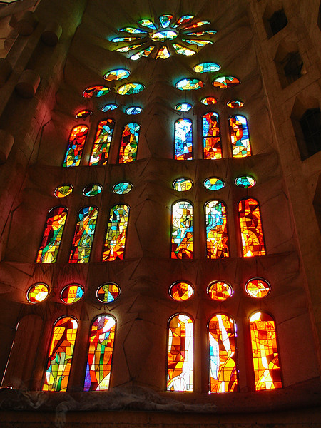 Stained Glass Window in Sagrada Familia, Barcelona