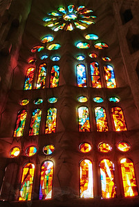 Stained Glass Window in Sagrada Familia, Barcelona