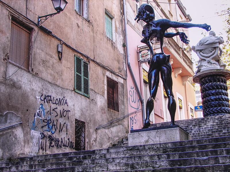 Graffiti & Dali Statue in Figueres, Spain