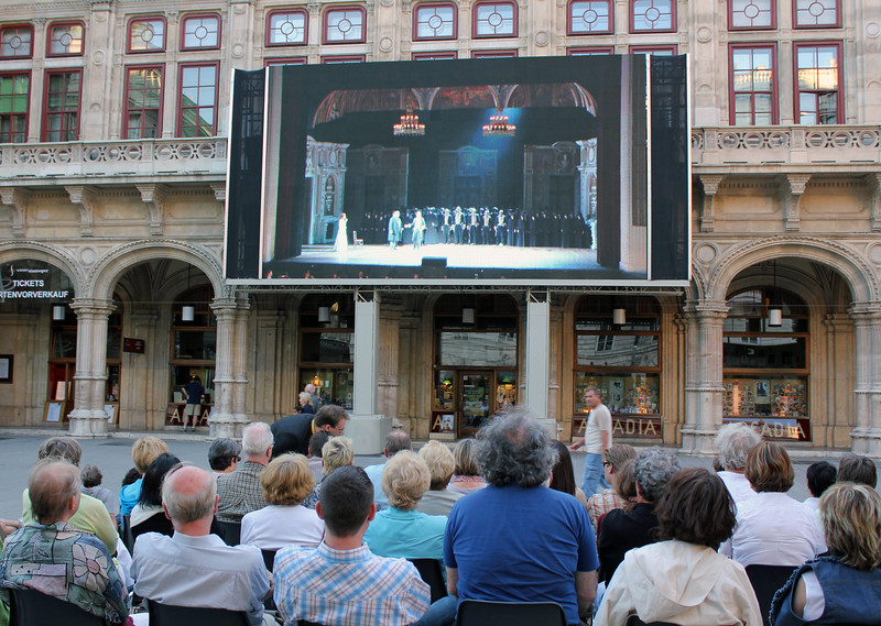 People Watching Live Broadcast of Viennese Opera