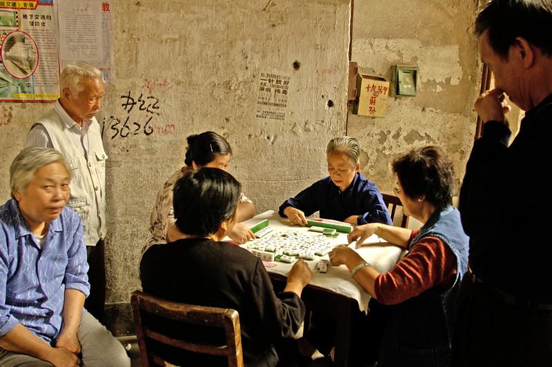 Mah Jong game, Lanes, Hongkou District, Shanghai