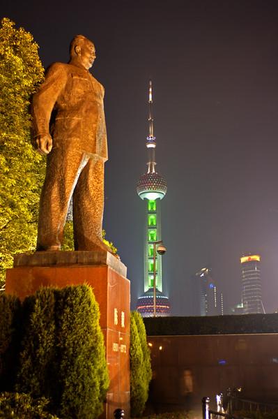 Mao statue, Bund at night, Shanghai