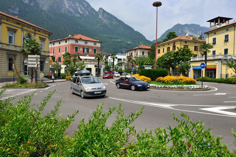 Riva del Garda - The circle in centre of town dividing the old town from the new and the park / sailing centre.