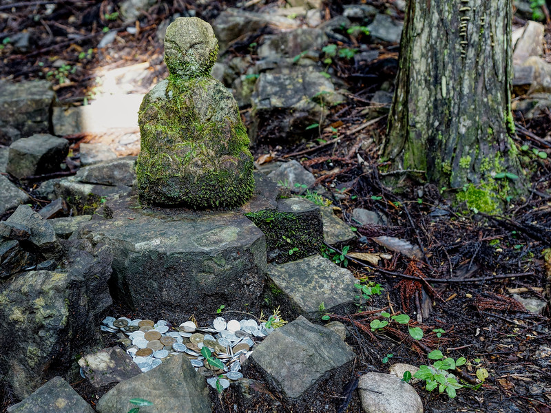 Statue and Offerings on the Kumano kodo