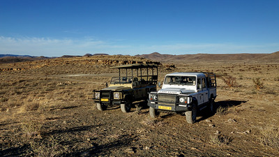 Land Rovers in Namibia