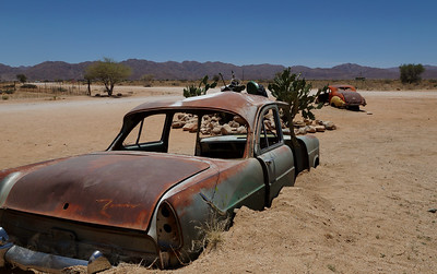 Cars at Solitaire - Namibia