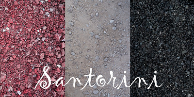 Three colors of gravel, found on the island: on the Red Beach (Akrotiri), White Beach and, of course, Black Beach (Kamari)