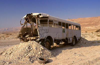 Abandoned bus, West Bank, Israel/Palestine