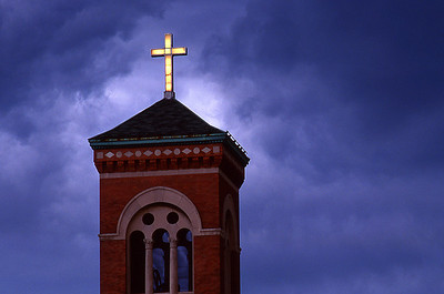 Tower, cross and clouds, Rochester, New York