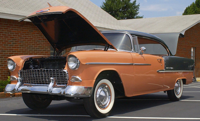 This 55 Chevy would take you back in time to when cars were built out of real metal.